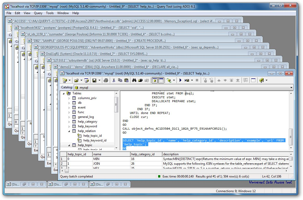Click to view Query Tool (using ADO) 6.1.8.8 screenshot