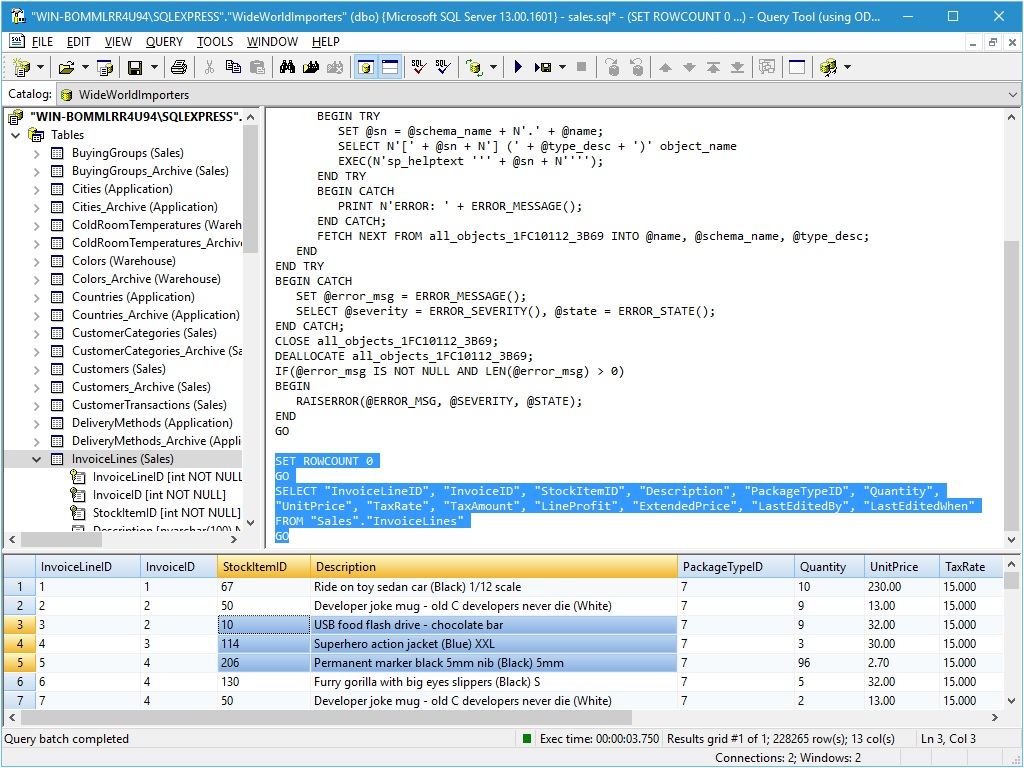 Query ODBC data sources.